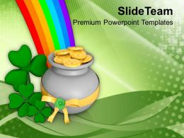 St Patricks Day Date Lucky Symbol Under Rainbow Abstract Templates Ppt Backgrounds For Slides
