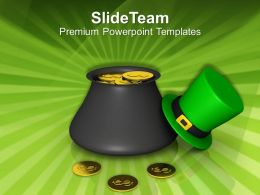 St Patricks Day Date Pot Of Gold For Powerpoint Templates Ppt Backgrounds Slides