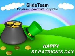 St Patricks Day Date Pot Of Leprechaun Gold On Rainbow Templates Ppt Backgrounds For Slides