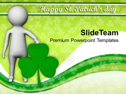 St Patricks Day Decorations 3d Man With Clover Powerpoint Templates Ppt Backgrounds For Slides