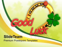 St Patricks Day Decorations Horseshoe And Lady Bug With Good Luck Templates Ppt Backgrounds For Slides