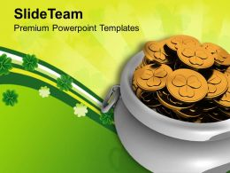 St Patricks Day Decorations Pot Of Gold Coins Irish Savings Templates Ppt Backgrounds For Slides