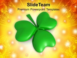St Patricks Day Decorations Shamrock 3 Cover Leaf Powerpoint Templates Ppt Backgrounds For Slides