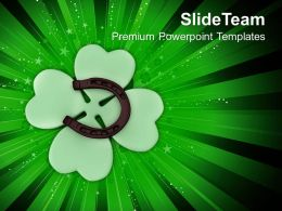 St Patricks Day Decorations Shamrock And Horseshoe Happy Templates Ppt Backgrounds For Slides