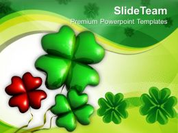 St Patricks Day Decorations Shamrock Symbol Leafed Celebration Templates Ppt Backgrounds For Slides