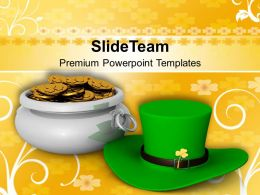 St Patricks Day Decorations With Hat And Gold Coins Templates Ppt Backgrounds For Slides