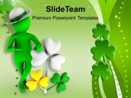 St Patricks Day Festival 3d Man With Clover Leaf Templates Ppt Backgrounds For Slides