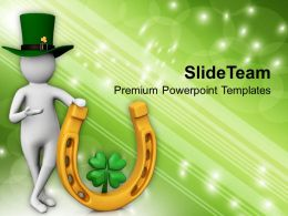 St Patricks Day Festival 3d Person With Lucky Symbol Templates Ppt Backgrounds For Slides