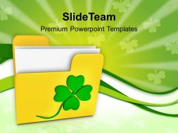 St Patricks Day Festival Folder And Shamrock Powerpoint Templates Ppt Backgrounds For Slides