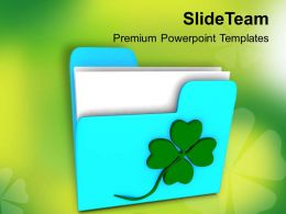 St Patricks Day Festival Folder Icon With Clover Powerpoint Templates Ppt Backgrounds For Slides