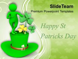 St Patricks Day Festival Man Over Green Hat Powerpoint Templates Ppt Backgrounds For Slides