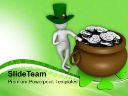 St Patricks Day Festival Man Showing Big Coines Pot Saint Templates Ppt Backgrounds For Slides