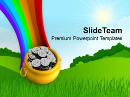 st patricks day festival rainbow and pot full of coins wealth templates ppt backgrounds for slides