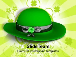 St Patricks Day Green Hat On Background Decoration Templates Ppt Backgrounds For Slides