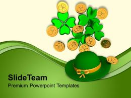 St Patricks Day Green Hat With Clover Bunch Shamrock Coins Templates Ppt Backgrounds For Slides