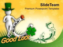 St Patricks Day Green Man Showing Good Luck Symbol Templates Ppt Backgrounds For Slides