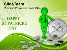 St Patricks Day Green Man With Silver Shamrock Coins Templates Ppt Backgrounds For Slides