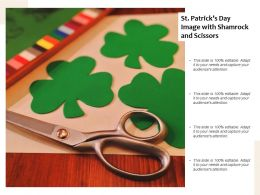 St Patricks Day Image With Shamrock And Scissors