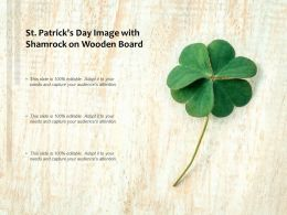 St Patricks Day Image With Shamrock On Wooden Board
