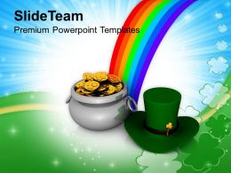 St Patricks Day Irish Hat And Pot Of Gold Coins Templates Ppt Backgrounds For Slides