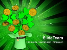 St Patricks Day Long Hat And Coines Shower Ireland Templates Ppt Backgrounds For Slides