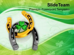 St Patricks Day Lucky Clover And Horseshoe Festival Templates Ppt Backgrounds For Slides