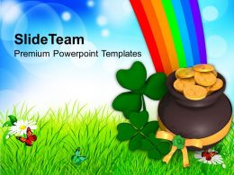 St Patricks Day Lucky Symbol Under Rainbow Templates Ppt Backgrounds For Slides