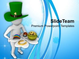 St Patricks Day Man Holding Clover Leaf With Lucky Symbol Templates Ppt Backgrounds For Slides