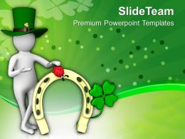 St Patricks Day Man With Clover Flower Of Irish Culture Templates Ppt Backgrounds For Slides