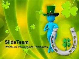 St Patricks Day Man With Green Hat And Clover Leaf Templates Ppt Backgrounds For Slides