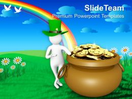 St Patricks Day Man With Hat Showing Big Coines Pot Templates Ppt Backgrounds For Slides