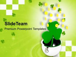 St Patricks Day Pot With Shamrock And Falling Coins Festival Templates Ppt Backgrounds For Slides