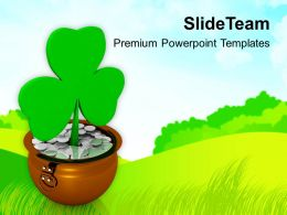 St Patricks Day Shamrock Symbol On Green Background Templates Ppt Backgrounds For Slides