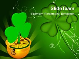 St Patricks Day Shamrock With Gold Coins Green Background Templates Ppt Backgrounds For Slides