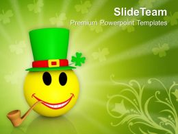 St Patricks Day Smiley Emoticons Face With Cigar Templates Ppt Backgrounds For Slides