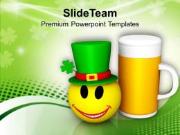 St Patricks Day Smiley Face And Beer Mug Celebration Festival Templates Ppt Backgrounds For Slides