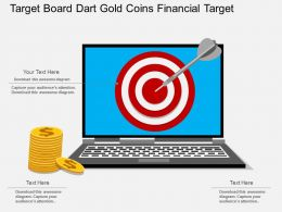 st Target Board Dart Gold Coins Financial Target Flat Powerpoint Design