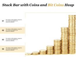 Stack Bar With Coins And Bit Coins Heap