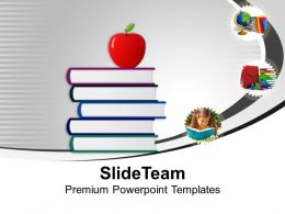 Stack Of Books With Apple Education Powerpoint Templates Ppt Themes And Graphics 0213