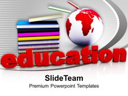 Stack Of Books With Globe Education Concept Powerpoint Templates Ppt Themes And Graphics 0113