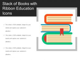 Stack Of Books With Ribbon Education Icons