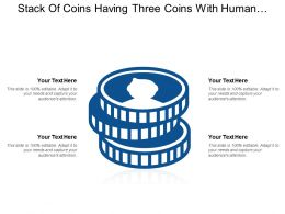 Stack Of Coins Having Three Coins With Human Face