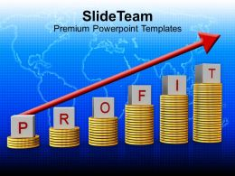 stack of coins profit growth graph powerpoint templates ppt themes and graphics 0213