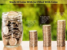 Stack Of Coins With Jar Filled With Coins