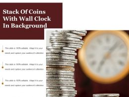 Stack Of Coins With Wall Clock In Background