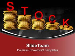 Stack Of Coins With Word Stock Bar Graph Powerpoint Templates Ppt Themes And Graphics 0213
