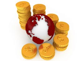 Stack Of Dollar Coins Around Globe For International Market Stock Photo