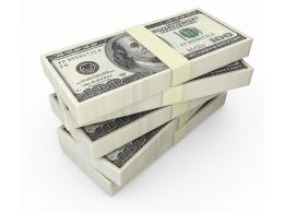 Stack Of Dollars On White Background Stock Photo