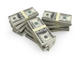 Stack Of Dollars With White Background Stock Photo
