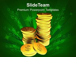 Stack Of Gold Coins Finance Powerpoint Templates PPT Themes And Graphics 0113
